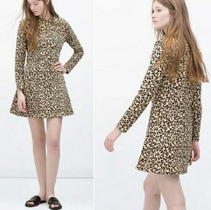 Zara Animal Print Flared Dress M